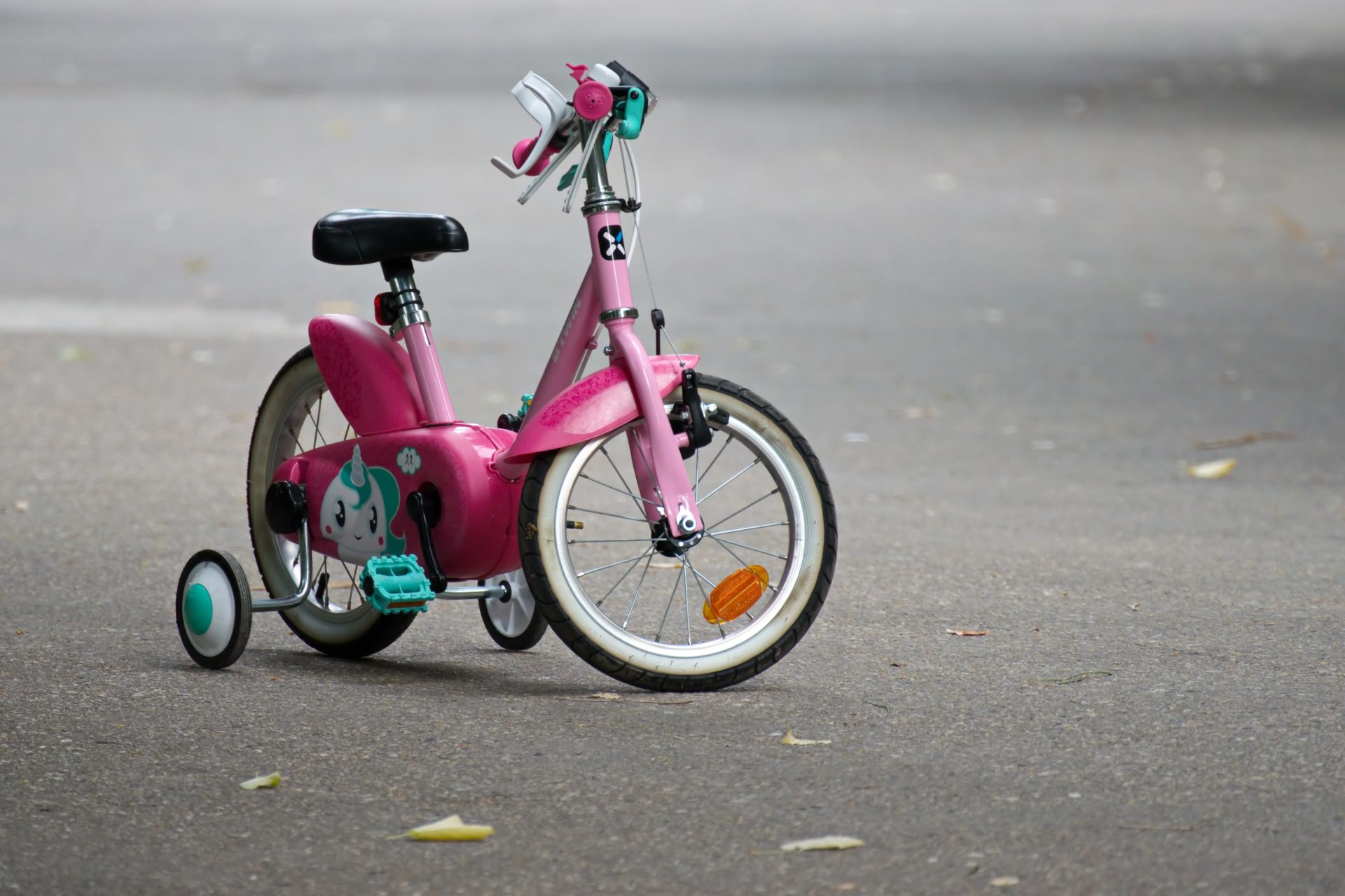 Pink Bike With Training Wheels On Gray Pave Road 1120961